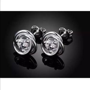 Jewelry - NWOT Silver Crystal Knot Stud Post Earrings